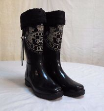 Juicy Couture Women's Tall Black Rubber Rain Boots Womens Size 8
