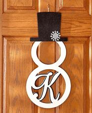 "Monogram Snowman Silhouette Door Hanger Initial ""K"" Christmas Holiday Ornament"
