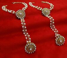 Indian Bridal Wedding Hand Slave Elegant Chain Bracelet Haath Phool Panja Jewelr