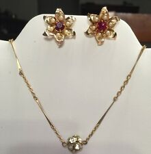 Vintage Jewelry: Rhinestone Gold Tone Necklace Disco Ball And Red Star Earrings