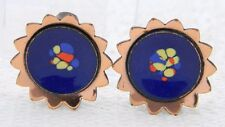 VTG RARE MATISSE Renoir Copper Blue Speckled Enamel Flower Sun Clip Earrings