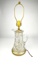 Pitcher Table Lamp Electric Cut Clear Vintage Hand Bedside Glass Brass Crystal