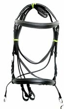 New Leather Cross Over Bitless Bridles with Reins Black Pony Bridle English ride