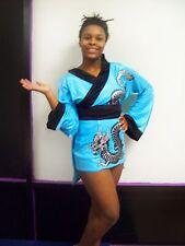 Halloween Express Costume Blue Geisha dragon short dress w/ hair stix Women S/M