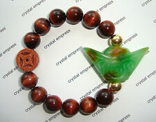 Feng Shui - Green Jade Ingot & I-Ching Coin with 12mm Red Tiger Eye