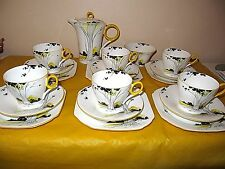 RARE SHELLEY SUNSET&TALL TREES TEA/COFFEE SET, some damage,read full description