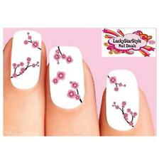 Waterslide Flowers Nail Decals Set of 20 - Pink Cherry Blossoms Assorted