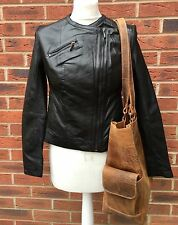 Ladies Quality Leather Biker Jacket In Size 12 Black Ex Chainstore RRP £250