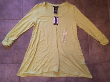 NWT Womens PREMISE Green 3/4 Sleeve U Neck A-Line Top Blouse Size S Small