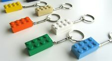 Handmade 2x4 LEGO Brick Snake Keyring x 5 Assorted Colours + Free Fridge Magnet