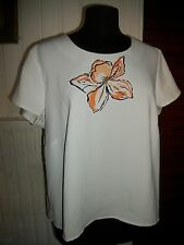 Tee shirt top polyester blanc BEXLEYS 24 52/54FR col rond manches courtes perles