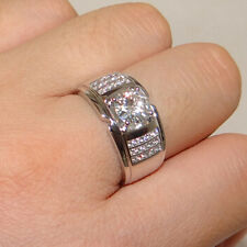 Size 9 Valuable Handmade White Sapphire Womens 925 Silver Wedding Band Gem Ring