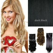 100% real Natural Full Head Clip in on Hair Extensions Extentions MIX COLORS d26