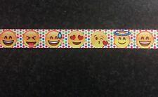 """1m puntos de Emoji Emoticones emoticonos carácter impreso Grosgrain cinta, 22mm 7/8"""""""
