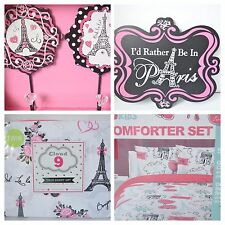 NEW PARIS THEME B KIDS TWIN COMFORTER SHAM CLOUD 9 SHEET SET & 3 WALL ART 8 PC