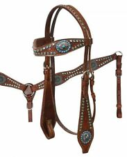 BLING! WESTERN SADDLE HORSE LEATHER TURQUOISE RHINESTONE BRIDLE BREAST COLLAR
