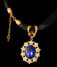 Multilayer Leather Cord Necklace Genuine Lapis Lazuli / Crystals Pendant ~ $345