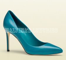 VIBRANT GUCCI SHOES BLUE TEAL LEATHER POINTED TOE PUMP sz 38 / 8