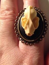 Bat Faux Taxidermy Resin Skull Bronze Ring Macabre