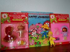 (5) STRAWBERRY SHORTCAKE DOLL FASHIONS Kenner 1981 MIPs+ COUNTRY JAMBOREE RECORD