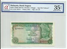 MALAYSIA  RM5 1st Series BROKEN SECURITY THREAD  A40_705374 GRADED 35