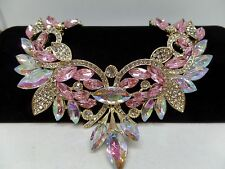 GORGEOUS VINTAGE INSPIRED PINK AURORA BOREALIS CRYSTAL STATEMENT NECKLACE! NEW!