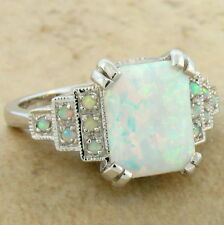 WHITE LAB OPAL ANTIQUE ART DECO STYLE 925 STERLING SILVER RING SIZE 5,      #648