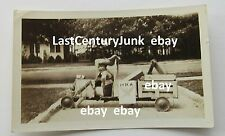 Original Black & White Photo Soap Box Derby Vehicle  w/ NRA Sign