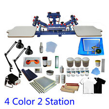 4 Color 2 Station Screen Printing Press Kit Machine Silk Screening Exposure DIY