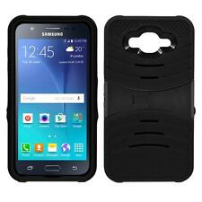 For Samsung Galaxy J7 2015 Case Shockproof Armor Box Rugged Stand Cover Black