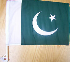 Pakistani Car Flag With Unbreakable Stick 12'x16'