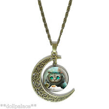 Alice in Wonderland Cheshire Cat Bronze Crescent Moon Pendant Necklace *UK*