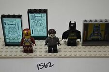 Lego minifigures Black Batman Iron Man and extra person w/ accessories Lot#1562