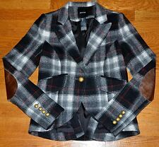 New 2016 Smythe Les Vestes Peaked Lapel Plaid Wool Leather Elbow Blazer Jacket 6