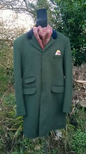 "RARE WILLIAM HUNT GREEN WOOL CROMBIE STYLE COVERT COAT. IMMACULATE 40"" CHEST"