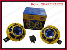 Genuine 12V Hella Super Tone Yellow Panther Dual tone Horns With Relay Set