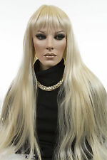 UP to 32 in Long Center Skin Part Straight Blonde Brunette Red Grey Wigs Bangs