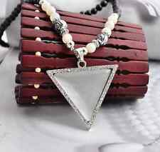 New Punk Rose Flower Beads Geometry Triangle Pendant Sweater Chain Necklace Gift