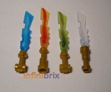 4x Lego Elemental Swords Ice, Fire, Earth (Blue, Red, Green, Clear) for Ninjago