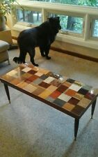 Mid Century Mersman Coffee Table Wood, Bamboo, Cork,  Up-Cycled one of a kind