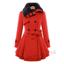 Womens Girls Warm Fur Sweet Double Breasted Wool Blend Coats Dress Slim Trench