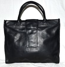 Fossil #75082 Black Pebbled Soft Leather 3 Sectional Briefcase Style Purse Tote