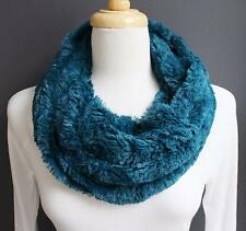 Teal scarf faux fur cowl neck circle infinity endless loop soft fluffy collar