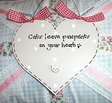 CAT LOVER Shabby Chic Sign Plaque ~ Choose Design and Colours ~ Gift Present