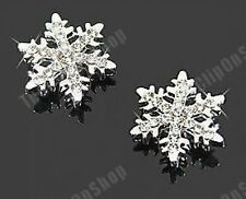 COMFY CLIP ON  SNOWFLAKE CRYSTAL studs STUD EARRINGS