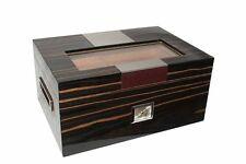 Exklusiver Humidor aus Ebenholz mit Metalleinlage und Glaspanel für 100 Zigarren