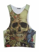 CV1 Men tank Top Scull Heavy Metal Death Rock Bike Street ROSE punk Halloween