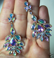 Rhinestone Chandelier Earrings Bridal Prom Pageant 2.2 inch Long AB