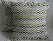 "14"" Cushion Cover Lime Green Grey Cream Retro Zig Zag Print Handmade New 35cm"