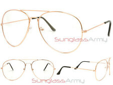 GOLD/CLEAR LENS Aviator Designer Frame men women stylish hipster trendy glasses